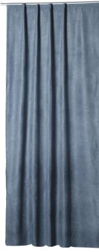 Thermovorhang Island Alcantara Optik Polar Fleece Gardine mit Kräuselband Vorhang Blickdicht B/H ca 140x245 cm (blaugrau, Kräuselband/Universalband)