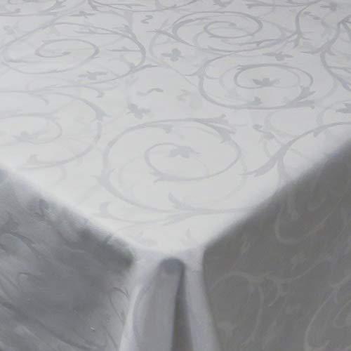 DecoHomeTextil Damast Tischdecke 100% Baumwolle Gastro Edition Barock Eckig Weiß 130 x 190 cm Größe wählbar