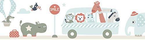 lovely label, cenefa autoadhesiva, 450 x 11.5 cm, diseño excursión de los animales, color beige/mint/rojo