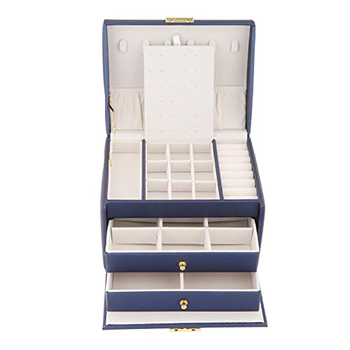 MagiDeal Caja de Almacenamiento de joyería con Forro de Terciopelo de Lujo, Collar, Reloj, Maquillaje, Cajas de baratijas, Organizador de cajones, Viaje para - Azul
