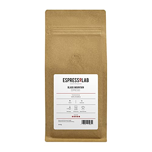 ESPRESSOLAB 'Black Mountain' Espresso/Café Crema Kaffeebohnen | dunkel, kräftig, säurearm | Vollautomat, Siebträger, Espressokocher | 100% Arabica | 500g | Premium Kaffee aus Privatrösterei