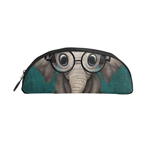 Sitzender Elefant mit Brille und Kopfhörer Halbkreis Bleistiftetui Bleistiftbeutel Simple One Zipper Cosmetic Makeup Bag