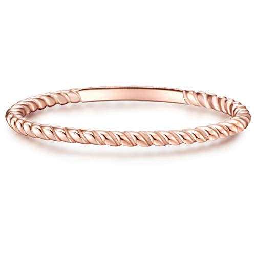 Glanzstücke München Damen-Ring Sterling Silber rosévergoldet - Steckring gedreht Silberring Roségold Vorsteckring Silber 925