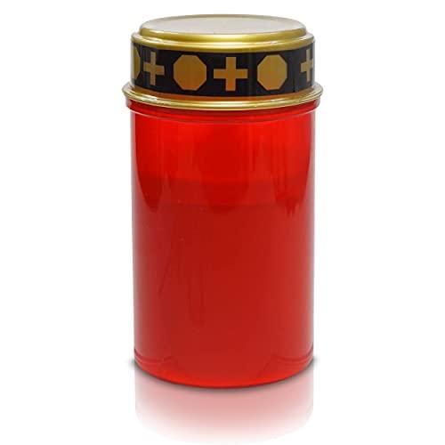 1x LED Grabkerze Grableuchte Dauerbrenner mit realistischem Flackereffekt - 12cm hohe 7cm runde rote Friedhofskerze mit Batterie - lang leuchtende Grablaterne Gedenkkerze für jedes Wetter (1 Kerze)