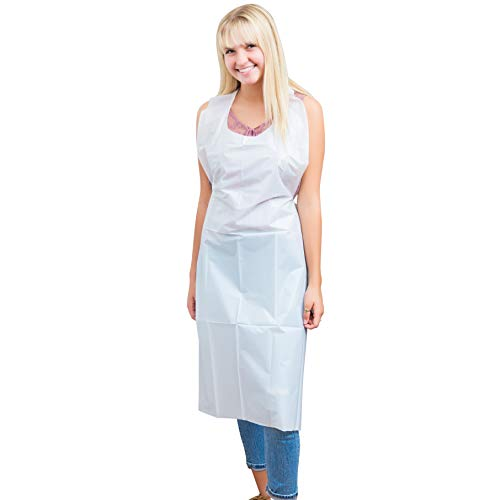 Green Direct Plastic Reusable Heavy Duty Poly Aprons for Women & Men, Pack of 25, White