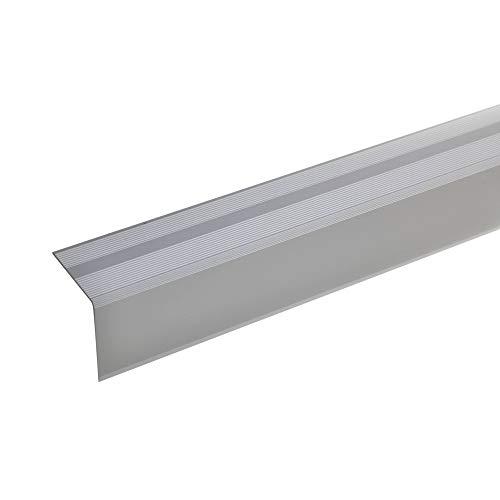 acerto 51128 Aluminium Treppenwinkel-Profil - 135cm, 42x40mm, silber * Rutschhemmend * Robust * Leichte Montage Treppenkanten-Profil, Treppenstufen-Profil aus Alu Selbstklebendes Treppenkanten-Profil