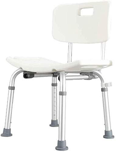 KRXLL Höhenverstellbarer Aluminium-Bade- / Duschstuhl mit Rückenlehne und Duschkopfhalter (Farbe: Weiß)