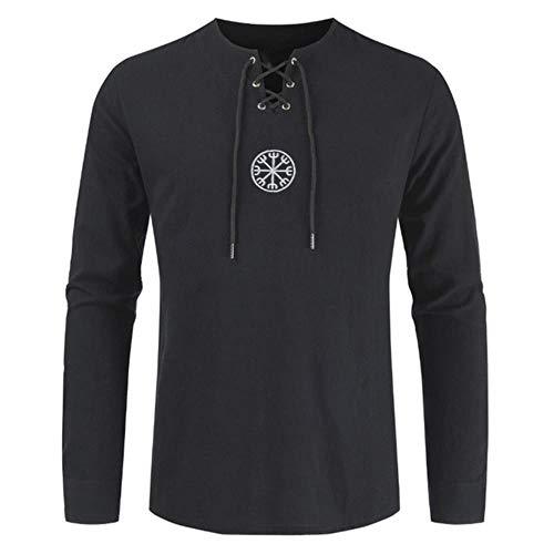 Más el gran tamaño de la antigua vikinga bordado de encaje escote en V cuerda de tiras de manga larga camiseta de moda nuevo diseño único estilo retro hombres
