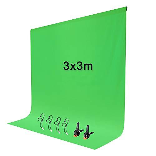 Croma Verde 3x3m Pantalla de Fondo Verde Fotográfico con 2+4 Pinzas para Estudio Fotografía Video y Televisión