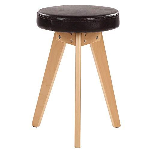 JIEER-C bureaustoel, bureaustoel, kruk, tafel, rond, van PU-leer, poten van natuurlijk hout, bureaustoel, keuken, magazijn, gewicht 130 kg (kleur: zwart) zwart.
