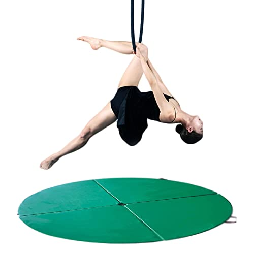 Pole Dancing Crash Mat, Folding Round Dance Padded Mat,Gymnastic Shock Absorption Safety Crash Mat, for Beginner Thickened Protection Mat, 150Cm in Diameter (59 Inches),Green,150cm*5cm