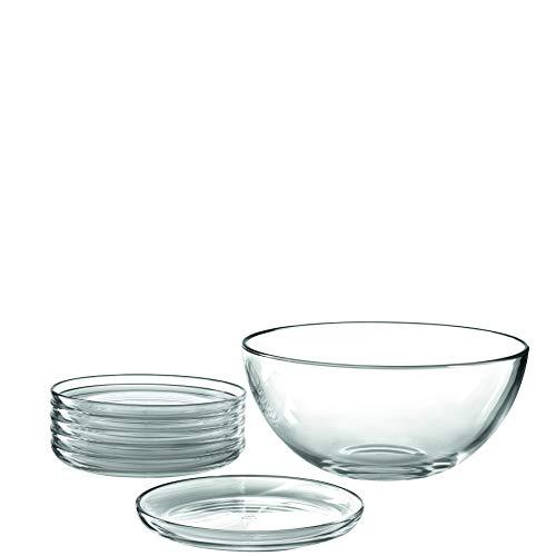Leonardo Cucina Schalen-Set, spülmaschinengeeignete Glas-Teller und Salat-Schale, Ø 180 mm und Ø 255 mm, 5 teilig, 066331