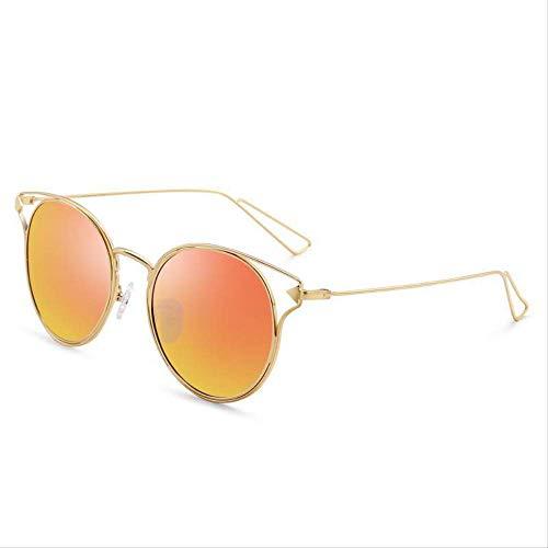 ZCFDDP Sonnenbrille Metallrahmen Frauen Runde Sonnenbrille Vintage Beschichtung Spiegel Sonnenbrille Damen BrilleOrange