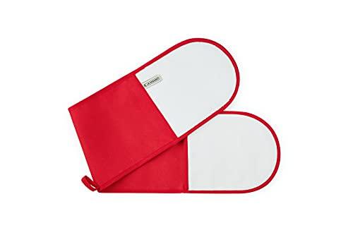 Le Creuset Double Gant avec Boucle, Taille Unique, Rouge-cerise, Coton
