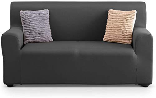APLUS1 Funda para sofá antimanchas y antideslizante elástica de color liso (97% poliéster - 3% elastano) (gris oscuro, 2 plazas)