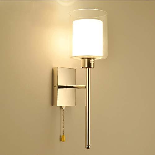 VOMI Moderno Apliques de Pared Interior Lámpara de Pared Lámpara de Pared Con Interruptor E27 Pantalla de Vidrio Doble, Cromo Lámparas de Salón Luces Decorativas para Cuarto(No Incluye Bombilla)