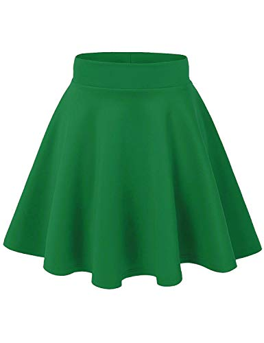 AG2Ggifts Women's Basic Versatile Stretchy Flared Casual Mini Skater Skirt(S-3X), S, Green