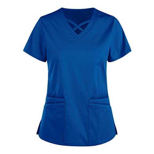 Sonojie Kasack Damen T-Shirts, Lady-Fit T-Shirt Bunt Pflege große größen mit Herz Motiv Weihnachten T-Shirt Schlupfkasack mit Taschen Kurzarm V-Ausschnitt Schlupfhemd Berufskleidung Krankenpfleger