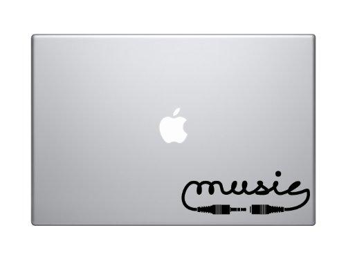 "Applicable Pun Audio #1 - Music Calligraphy Jack Connector Plug DJ - 5"" Black Vinyl Decal Sticker Car MacBook Laptop"