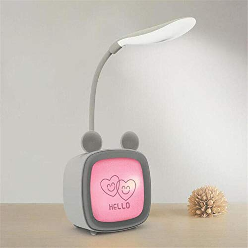 Regalos navidad originales Lámpara de Mesa Luz Cálida en la Base Lámpara Escritorio Usb LED 3 Brillo Regulable Para Oficina Dormitorio Lectura Estudiar-D gris