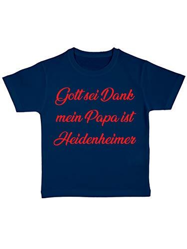 clothinx Gott sei Dank, Mein Papa ist Heidenheimer, Lustiges Fussballmotiv Kinder Bio T-Shirt Navy Gr. 92