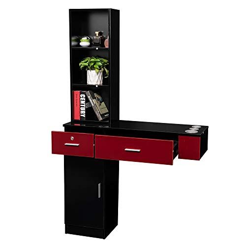 Mefeir Wall Mount Hair Styling Barber Station, Beauty Salon Spa Furniture Set, Hair Salon Equipment, 2 Drawers+1Cabinet+3 Shelves (Black&Red)