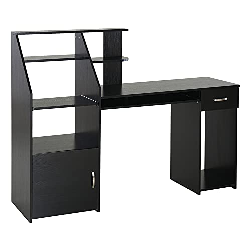 HOMCOM Computer Desk with Sliding Keyboard & Storage Shelves, Cabinet and Drawer, Home Office Gaming Table Workstation, Black Wood Grain