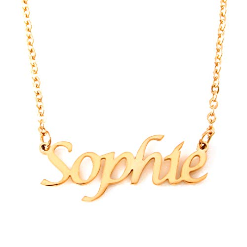 Kigu Sophie Personalized Name - 18ct Gold Plated Necklace - Adjustable Chain 16' - 19' Packaging