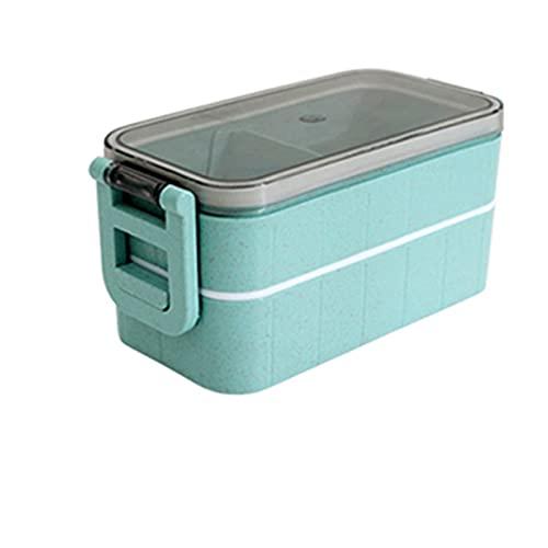 Recipiente de Alimentos con calefacción para Alimentos Bento Bento Termal Snack Caja de Almuerzo climatizada eléctrica para con compartimientos Limpieza (Color : Double Buckle Blue)
