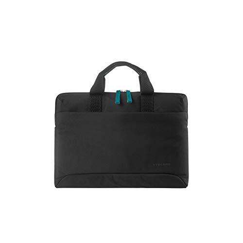 Tucano Smilza Laptoptasche aus Nylon für 13/14 Zoll Notebooks, mit schockabsorbierender Innenpolsterung und Abnehmbarer Schultergurt - Schwarz