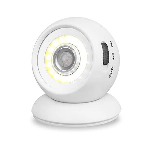 Foco LED inalámbrico, con Sensor de Movimiento, Giratorio 360°, Sensor LED, lámpara de Pared para Interior de jardín (Foco LED con Detector de Movimiento)