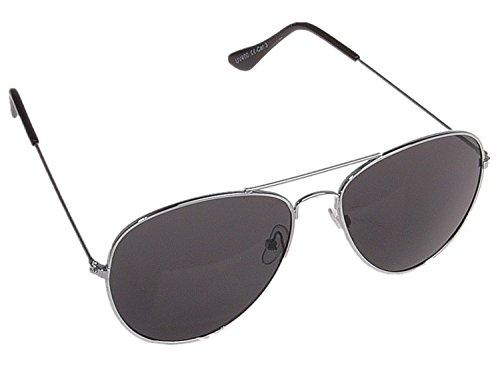 Unbekannt Pilotenbrille Sonnenbrille Fliegerbrille Pornobrille mit Federscharnier NICHT verspiegelt (Klar) (Schwarz Gläser/Silber Rahmen)