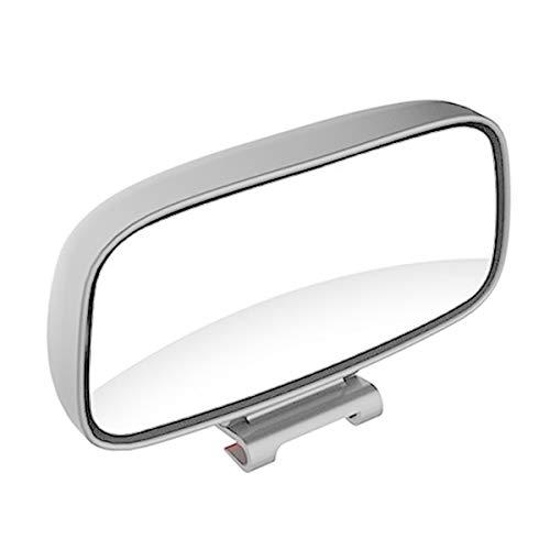 Nicoone 1 Pieza Espejo Retrovisor Ajustable de Gran Angular de Rotación de Punto Ciego para Coche Universal-Plata