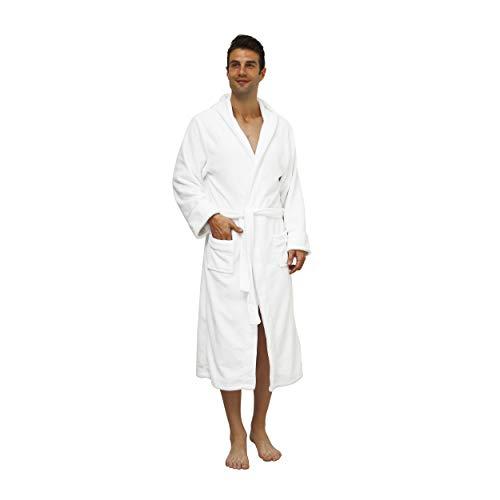 Lumaland Luxury Mikrofaser Bademantel mit Kapuze für Damen und Herren in verschiedenen Größen und Farben Weiß L