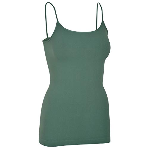Womens Soft Stretchy Solid Color Essential Spaghetti Strap Long Tank Top Cami Dusty Teal