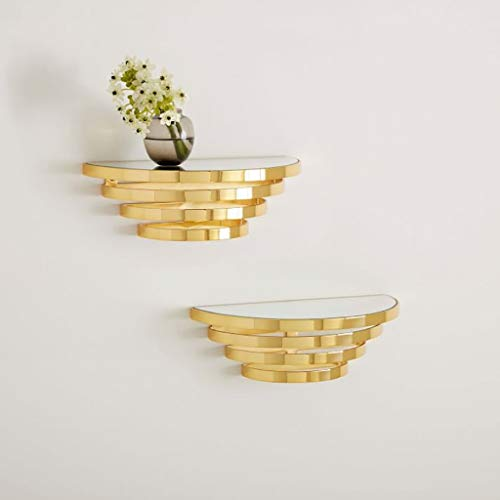 LYN-MEMORY Zwevende planken, Nordic ijzeren kunst glas wandplank wandhouder drijvende planken voor slaapkamer woonkamer bloemenstandaard, wandbehang display rek, decoratie (30 * 15 * 10 cm) wandrek