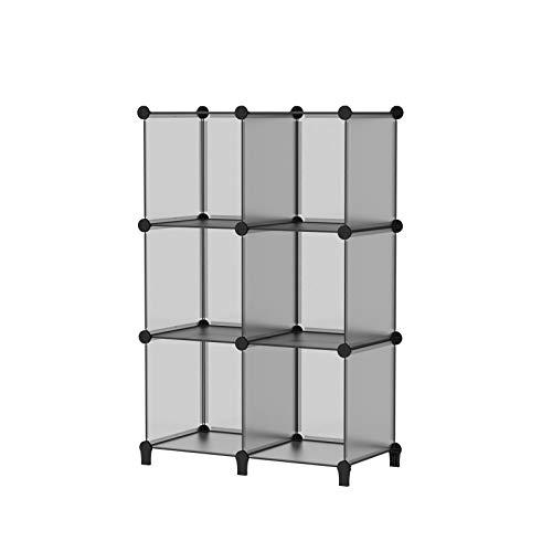 SIMPDIY Storage Cubos modulares 6 Cubos Gris (93x93x30cm) Organizador portátil de plástico Estantería Estante Estante…