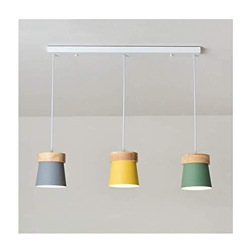 Chandeliers Chandelier Nordic Wood Art Macaron Living Room Decor E27 - Lámpara de techo colgante, diseño de madera