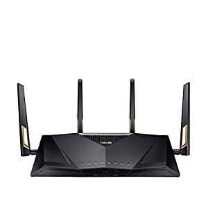ASUS RT-AX88U Wireless-AX6000 AiMesh Dual Band Gigabit Router, OFDMA + MU-MIMO tech, 1024 QAM, Range Boost, Trend Micro AiProtection Pro, WTFast GPN, Dual WAN Support, 3G/4G Support