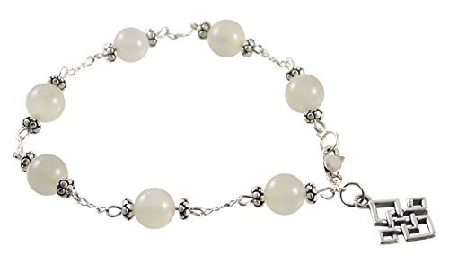 Kit Johnson Designs Station Style Moonstone Bracelet with Celtic Knot Charm - 7 1/2' - Sterling Silver