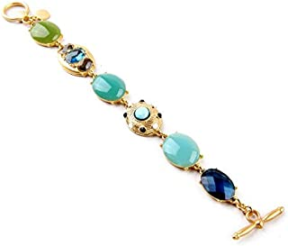 New Fashion Women Multicolor Bangle Simulated Gemstone Jewelry Glass Drop Beads Bracelet Chain bracelet