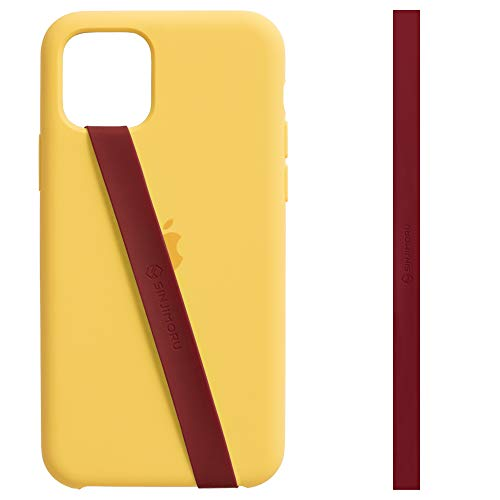 Sinjimoru Strechy Phone Grip for iPhone, Silicon Phone Finger Strap for Back of Phone Case, Flat Cell Phone Holder with Ansti Slip Tape. Sinji Loop (Vino Rojo)