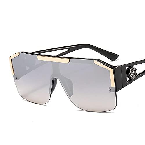 MAOXING Lentes De Color De Moda para Hombres Y Mujeres, Gafas De Sol Rectangulares con Montura De Aleación Uv400 C4