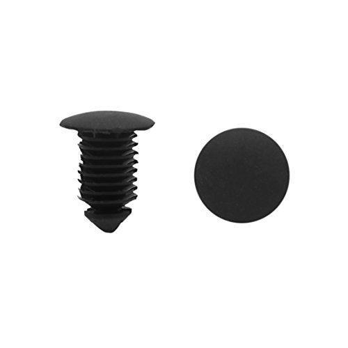sourcing map 100 Piezas 10mm Agujero Grapa Retenedor Plástico Negro Moldura Techo Coche Clip Remache