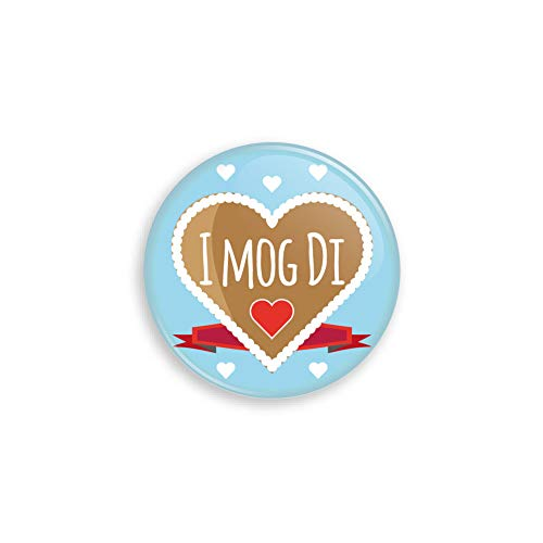 Werbewas Oktoberfest Buttons ALS Anstecker mit Nadel oder Magnet für Zuhause oder ALS Geschenk und Mitgebsel - Motiv I mog di - 38mm mit Nadelverschluss an der Rückseite