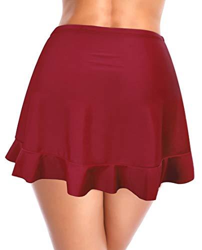 SHEKINI Mujer Falda de Bikini Sexy Falda de Baño con Volantes Irregulares(S,Vino Tinto)