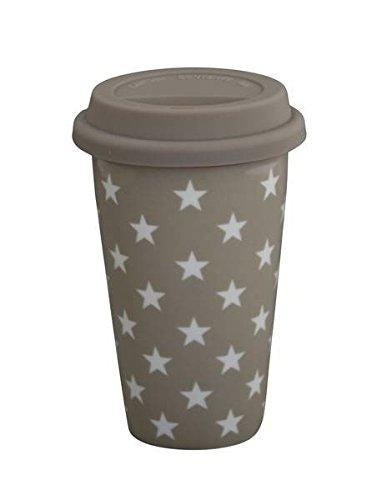 Travel mug taupe motif étoiles