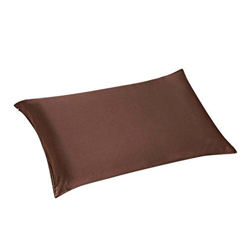 Vovotrade Rectangle Housse de Coussin Satin Housse d'oreiller Canapé-lit Décoration Pure Couleur (café)