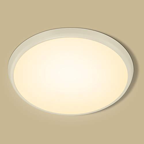 Oeegoo Deckenleuchte LED 18W, LED Deckenlampe Warmweiß, IP54 Wasserfest Badlampe, 2000LM Flimmerfrei Lampen für Bad Balkon Küche Wohnzimmer Schlafzimmer Kinderzimmer Badezimmerlampe Ø25cm, 2700K
