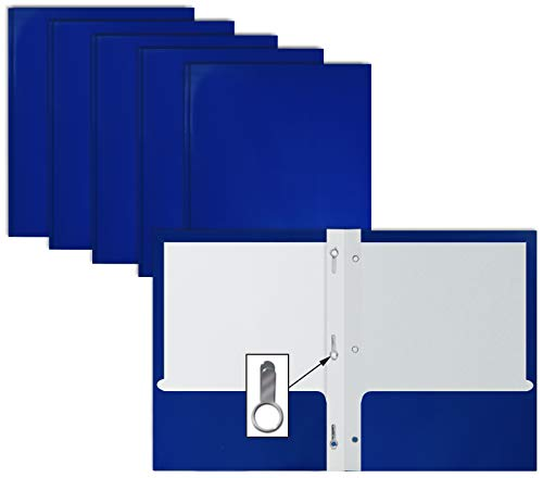 2 Pocket Glossy Blue Paper Folders with Prongs, 25 Pack, by Better Office Products, Letter Size, High Gloss Blue Paper Portfolios with 3 Metal Prong Fasteners, Box of 25 Glossy Blue Folders